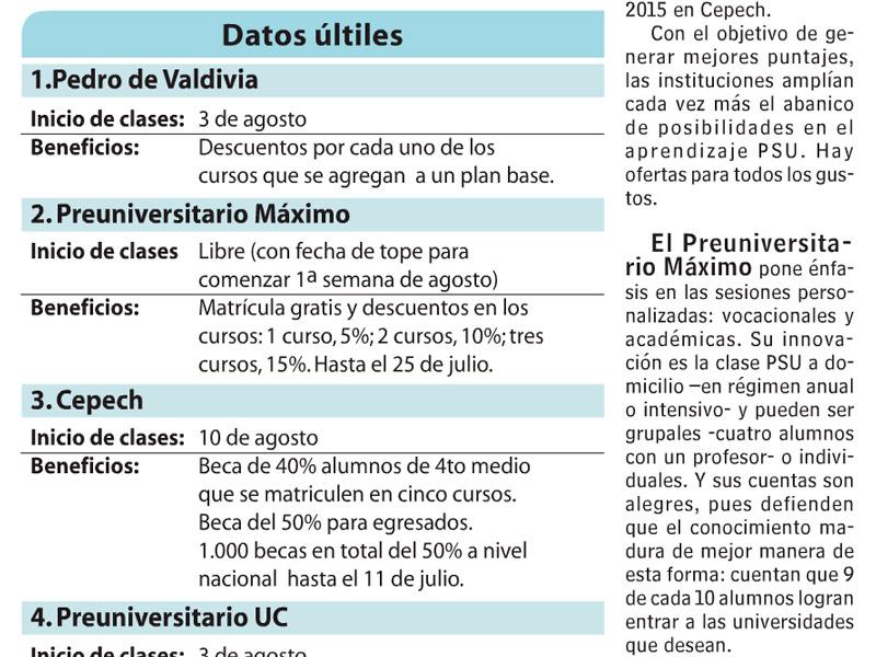 Preuniversitario Máximo en Las Últimas Noticias 2015